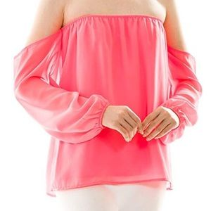 Coral boutique strapless top with sleeves! Size m